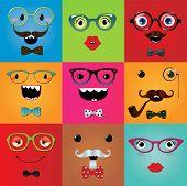 Set of funny hipster monster eyes