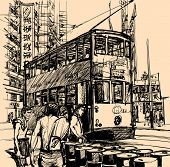 Vector illustration of a street in Hong Kong with a tramway (All texts, chinese characters, ads are