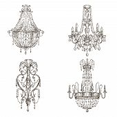 set of chandelier drawings
