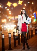 Fashionable lady wearing red dress and white coat outdoor in urban scenery with city lights