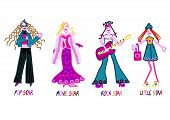 image of pop star  - 4 girls embroidery design with pop star - JPG