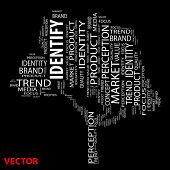Vector eps concept or conceptual identify tree word cloud on black background wordcloud