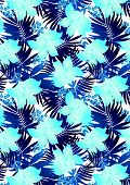 Blue hibiscus flowers in repeat pattern