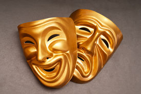 stock photo of pantomime  - Masks with the theatre concept - JPG