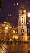 Giralda Bell Tower Seville Cathedral Rainy Night Spain