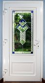 Entrance Pvc Door With Tiffany Leaded Pane