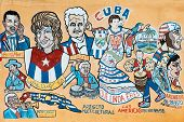 MIAMI,USA - MAY 19,2014 : Street painting portraying several famous cuban musicians and cultural icons in Little Havana