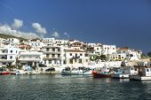 ANDROS, GREECE - APR 29, 2014: Marina of Andros, is the northernmost island of the Greek Cyclades ar