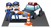 Illustration of the police officers at the road on a white background