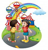 Illustration of the boys handshaking in front of the carnival on a white background