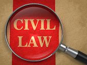 CIVIL LAW Magnifying Glass on Old Paper.