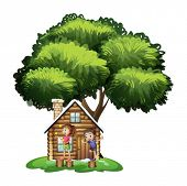 Illustration of the kids playing outside the house under the tree on a white background
