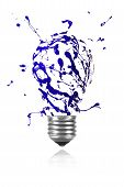Blue Paint Burst Made Light Bulb