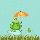 Cute frog holding umbrella and enjoying rainfalls in the lovely monsoon season.