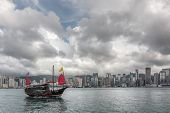 HONG KONG, CHINA - MAY 19 : Famous Aqua Luna boat sail on the victoria harbour in Hong Kong,  China