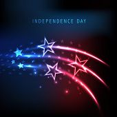 American Independence Day celebration concept with shiny star and waves on red and blue background.