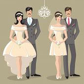 Cute Wedding Set Of Cartoon Couple Bride And Groom