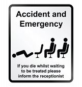image of deceased  - Monochrome comical accident and emergency public information sign isolated on white background - JPG