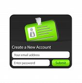 Create A New Account Form With Green Id Card. Element For Websites And Mobile Applications