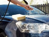 Car Washing Cleaning With Foam And  Water