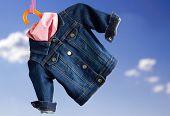 Denim Child  Jacket With.kerchief
