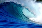 Blue surfing wave
