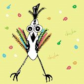 Vector Illustration Of Colorful Droll Chiken
