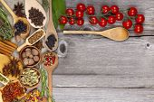 Herbs And Spices On Wooden Background