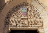 Ornamented Archway Over The Entrance Of The Town Hall In Narbonne