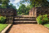 Small stairway in garden complex in Sigiriya, Sri Lanka