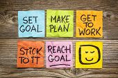 set goal, make plan, work, stick to it, reach goal - a success concept presented with colorful stick