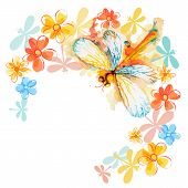 Orange Dragonflies With Flowers