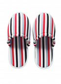 Pair Of Colorful Striped Home Slippers On White Background