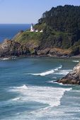 Heceta Lighthouse With Sea
