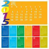Year 2015 Colorful Calendar - April