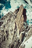 Climber On The Route.aiguille Du Midi
