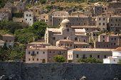 Greece, Monemvasia island view of stone houses.