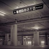 Empty Airport Parking Garage