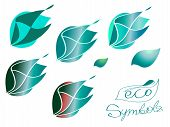 Vector Icons Set Of Green Leaves