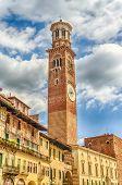 Lamberti Tower In Piazza Signori In Verona, Italy