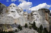 Sculptures of former U.S. presidents; George Washington,Thomas Jefferson,Theodore Roosevelt and Abra