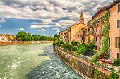 View Over Adige River In Verona, Italy