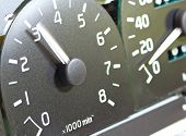 Close Up Of Car Tachometer. Dashboard Of The Car