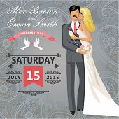 Kissing Couple Bride And Groom. Wedding Invitation With Paisley