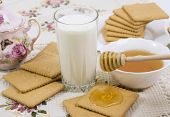 Glass Of Buttermilk (milk) And Cookies