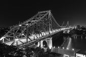 Brisbane Story Bridge by Night - black and white