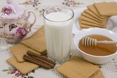 Glass Of Milk And Cookies On A Beautiful Cloths