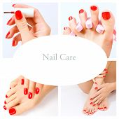 Collage Of Several Photos For Beauty Industry (red Manicure And Pedicure)