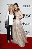NEW YORK-JUNE 8: Actress Jessie Mueller (R) and Carole King pose in the press room at the American T