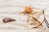 stock photo of sundial  - Sundial in the sand - JPG
